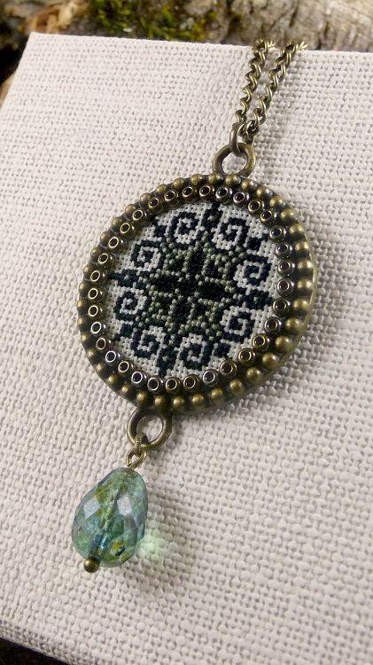 Geometric cross stitch pendant, Seafoam, Black embroidered necklace, Snowflake pendant, Textile pendant, Brass classical pendant necklace