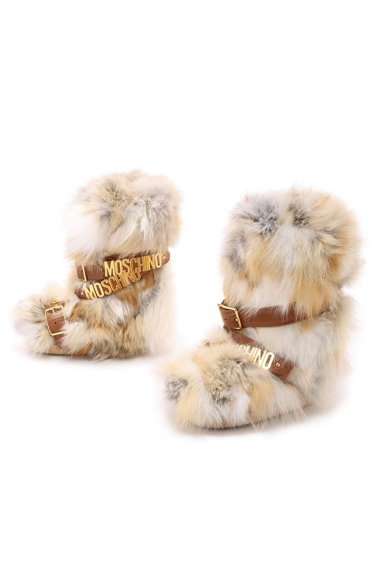 Moschino Fox Fur Winter Beige Shoes Women's Snow Boots