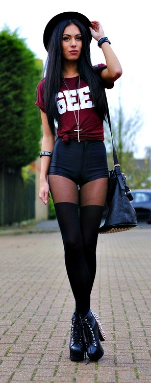 This look is so edgy and cute. Nothing I would wear on campus but would be the perfect look for a party or photo shoot!