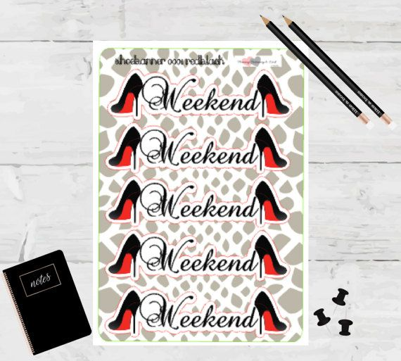 Planner Stickers Weekend Banner Red Bottom Black by TaraKamiya