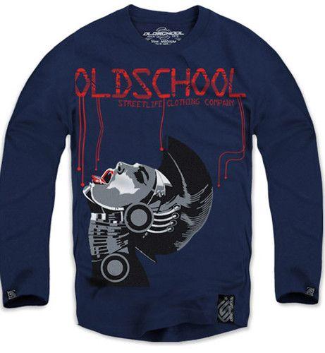 $19 New Authentic Oldschool Men's Long Sleeve Tshirt Sz M L XL Blue | eBay
