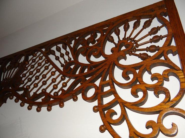 2 victorian oak stick ball fretwork corbels gingerbread for Architectural gingerbread trim