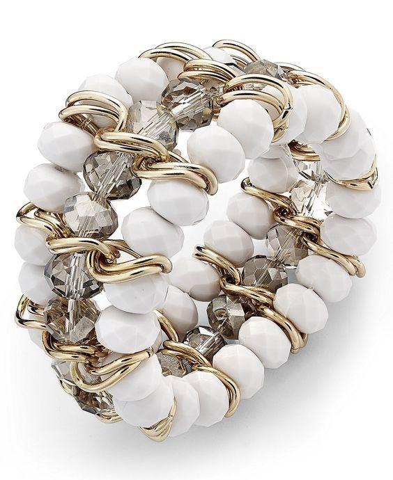 elegant three strands beaded bracelet