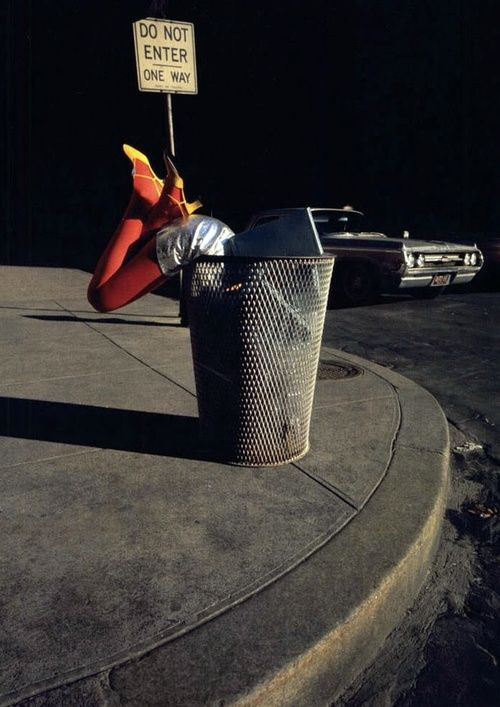 Shoes by Charles Jourdan, Summer 1976. Photo by Guy Bourdin, For Quiney the  warning came too late.