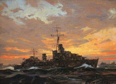 "Eric Riordon, Atlantic sunset canadian tribal destroyer in convoy ocb 6x8"" in, Master's Gallery, June 9/12"