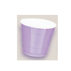 Plastic Lavender Cups. There are 20 Plastic Cups per package. These 9 ounce cups come in 22 colours to match any theme or event.