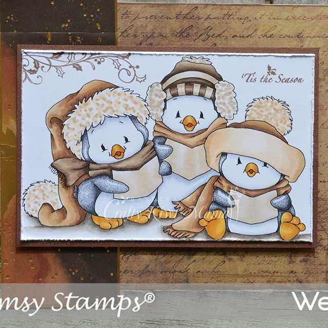 Beautiful card from Wendy using our Penguin Carolers digital image.