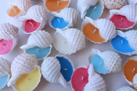 Beach Wedding Shell Candle Favors