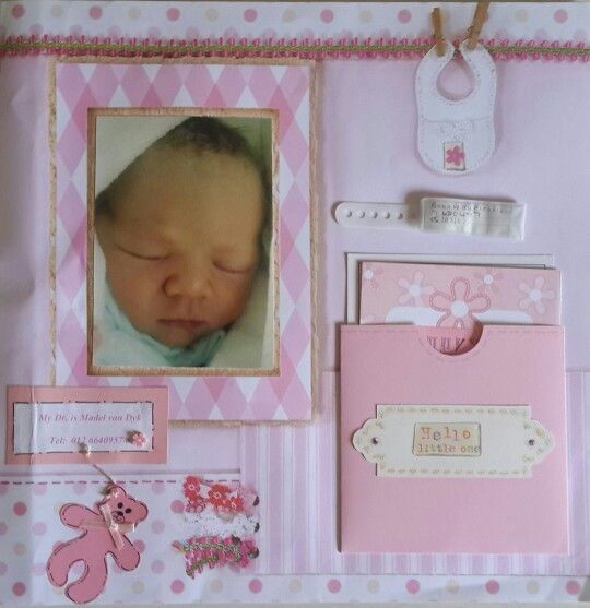 Scrapbook Page - Baby girl birth layout