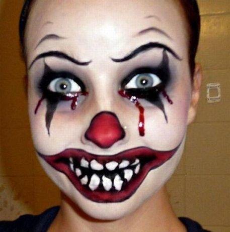 maquillaje de payaso de terror para halloween