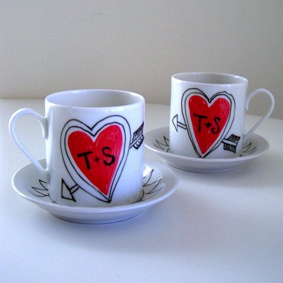 Valentine's Day Love Mugs Set Ceramic Cappuccino Cups Heart Arrow Initials Custom Black White Red - replacement for espresso cup set. $35.00, via Etsy.