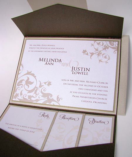 #57L52 Pocket Fold® Wedding Invitation | Renaissance Writings