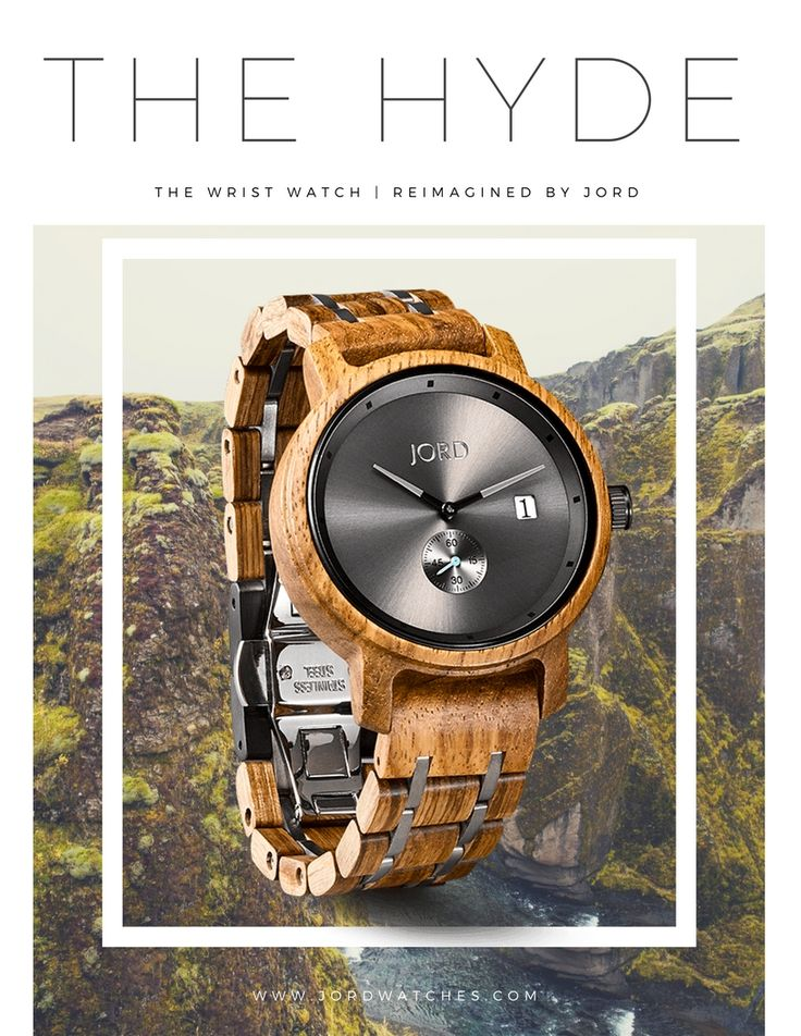 The Hyde is the newest men's series by JORD. As the premiere maker of luxury wood watches JORD offers the Hyde as a new standard in natural material modern design and quality craftsmanship. The HYDE is a continuation of the JORD promise: raw material, refined design.