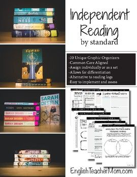 Use this bundle of graphic organizers to reinforce the Common Core standards that are already being taught in your class.My students are always reading an independent novel. While reading, I want them to transfer the skills I model and use with our mentor text to their Independent Reading.
