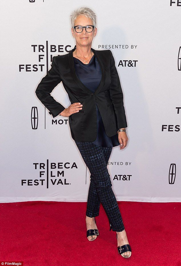 Ageing fabulously: Jamie Lee Curtis, 58, looked svelte and toned at a screening of documentary Hondros at the Tribeca Film Festival in New York on Friday