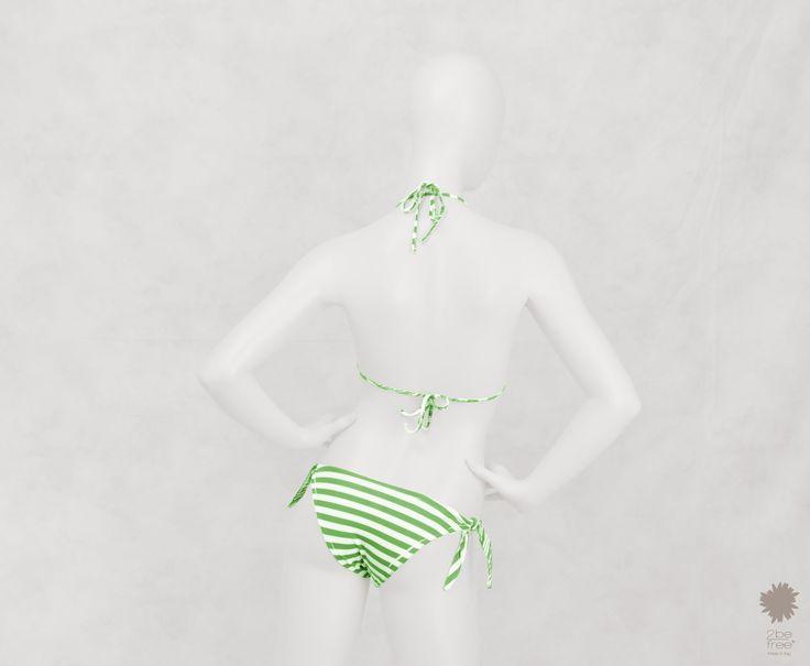 Cruise Sea Forest Bikini Beachwear - Reversible triangle bikini top in microfiber, bikini bottom with bows