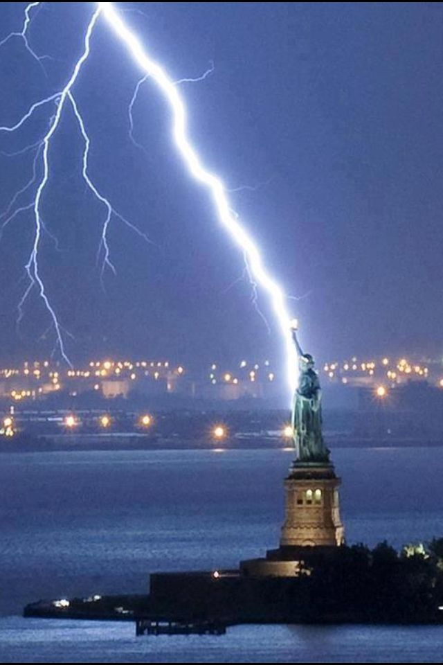 Lightning and Statue of Liberty
