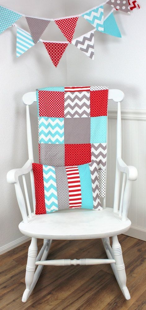 Baby Blanket, Unisex, Nursery Decor, Photography Prop, Minky Blanket, Nursery Blanket, Chevron Nursery, Aqua Blue, Red, Gray, Grey, Chevron