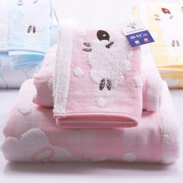 Carneiros dos desenhos animados da criança do bebê do algodão conjunto 3 pcs banho towel mão rosto toalhas de praia rosa bordado adulto da família presente atacado fg452
