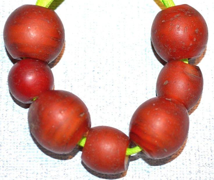 Antique Red Venetian Lampwork Cornaline d'Aleppo Beads Yellow Core African Trade #Lampwork