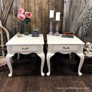 Painted End Tables with Lined Drawers by Just the Woods