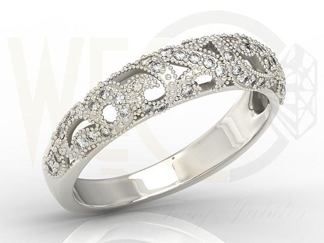 Pierścionek z białego złota z cyrkoniami / White gold ring with zircons / 886 PLN /  #whitegold #jewelery #ring #zircons #cyrkonie #pierscionek #ażur #bialezloto