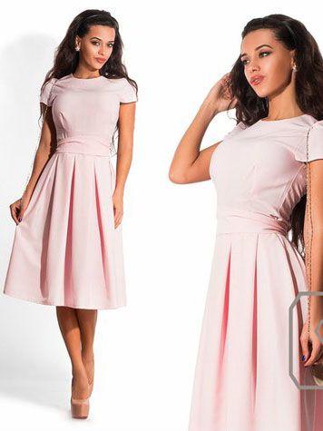 Летнее платье миди, светло-розовое. Купить за 3590 руб. в интернет-магазине MyLaBelle.ru