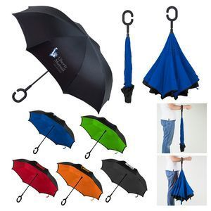 Reversible Umbrella  - 2017's Hottest corporate gift, Snag Your Swag's beautiful reverse close umbrella - closes away from you so you don't get wet.  Great for employee gifts and client thank yous.  #corporate gifts