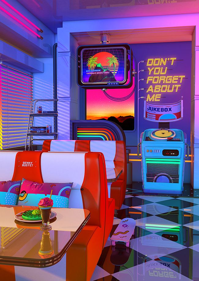 Retrowave Dine Dream Poster By Dennybusyet Retro Wallpaper Wall Collage Aesthetic Iphone Wallpaper