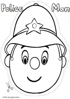 Free printable policeman mask template cut out for kids