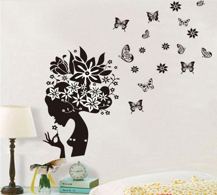 Silueta mujer flores y mariposas