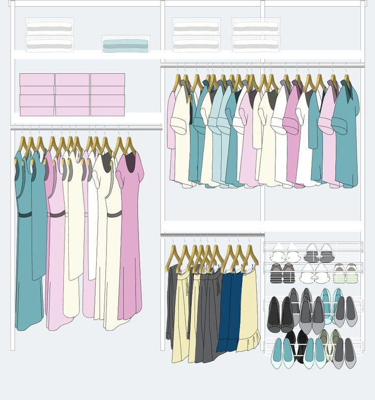 9. Para colgar vestidos, tapados, camisas, remeras, pantalones y además guardar zapatos, existe este modelo: