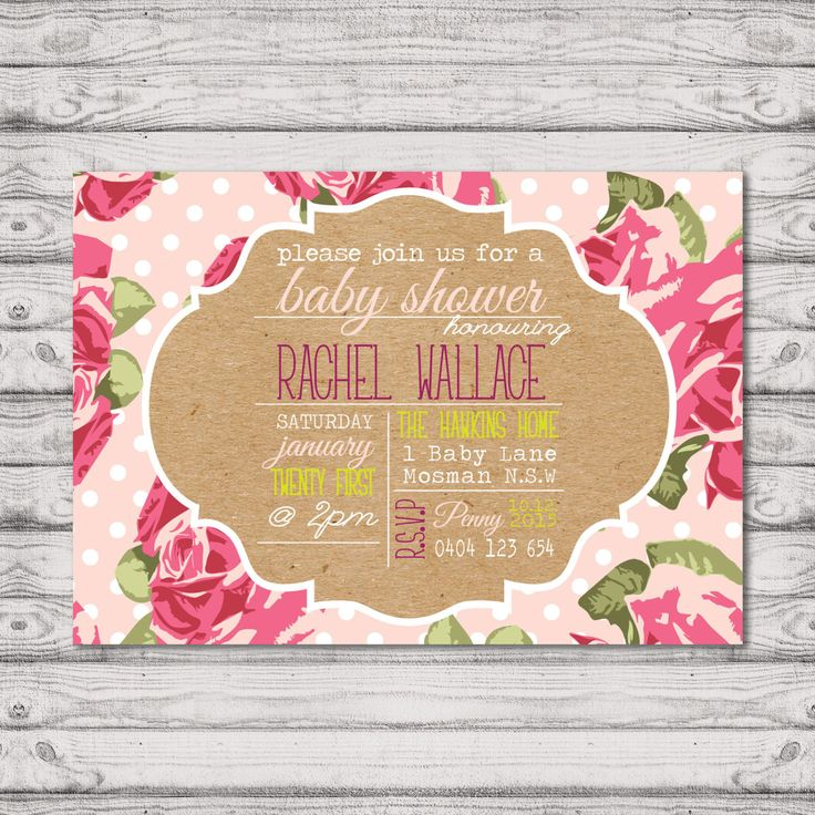 Floral Baby Shower Invitation - Print At Home File or Printed Invitations - Pink Dots & Roses Pretty Personalised Baby Shower Invite by PaperCrushAus on Etsy