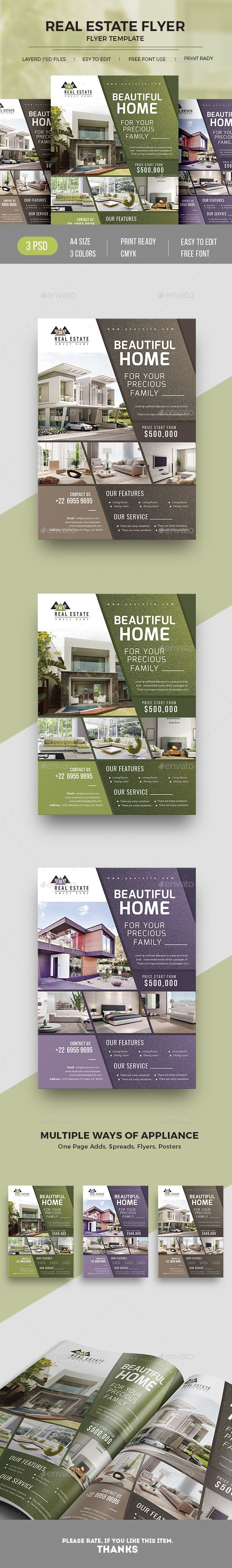 #Real #Estate #Flyer Template PSD. Easy to edit and customize.  3 Different color versions to match your branding.