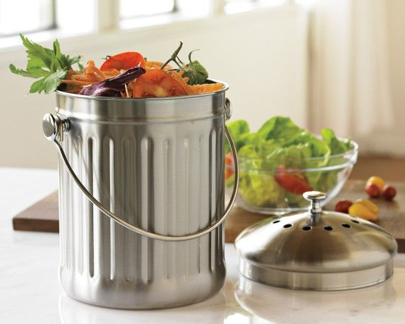 Brushed Stainless Steel Compost Pails