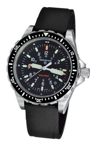 Marathon Watch; Military Divers LGP Wristwatch (JSAR) with MaraGlo Marathon Watch Company Ltd. $761.30. Authentic military watch as supplied to Government. Made in La Chaux de Fonds, Switzerland. Luminous features on hands and dial are powered by MaraGlo inserts and appliques. Water resistant 30 ATM (300m / 1000ft). High torque quartz ETA F07