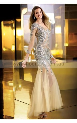 Yarn Floor-length Natural Mermaid Tulle Formal Dresses aiaa307159--Hodress