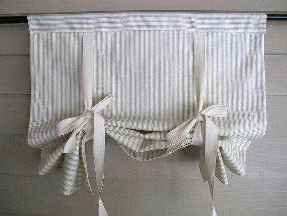Sage Green 36 Inch Long Cotton Ticking Stage Coach Blind