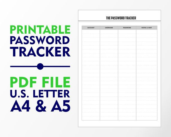 The Password Tracker A4 A5 and U.S. Letter Downloadable by vecprin