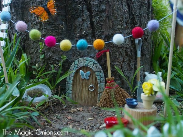 fairy garden gnome home wwwthemagiconionscom i love the felt ball garland
