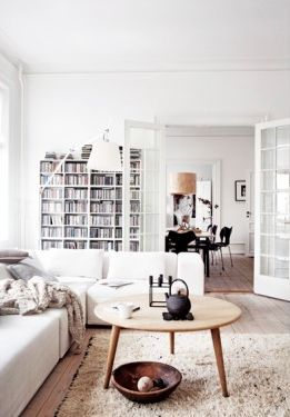 Simple, white living room