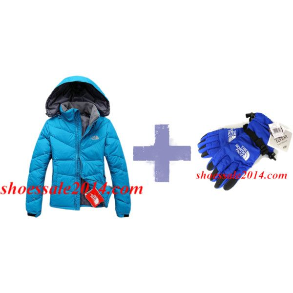 """""""Blue North Face Down Jacket And Blue North Face Gloves"""" by fashionace-682 on Polyvore"""
