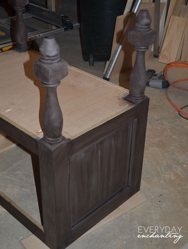 Diy Pottery Barn Inspired Sink Console Vanity Tutorial Stains Colors And Weathered Wood
