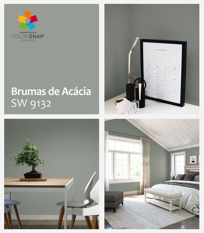 No mês de fevereiro a Sherwin-Williams apresenta a cor Brumas de Acácia SW 9132, um tom de cinza esverdeado, sóbrio e elegante. Um neutro quase frio, que traz a ideia de introspecção, reflexão e introversão.