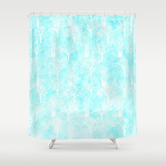 White winter forest- With snow covered trees- pattern on teal Shower Curtain