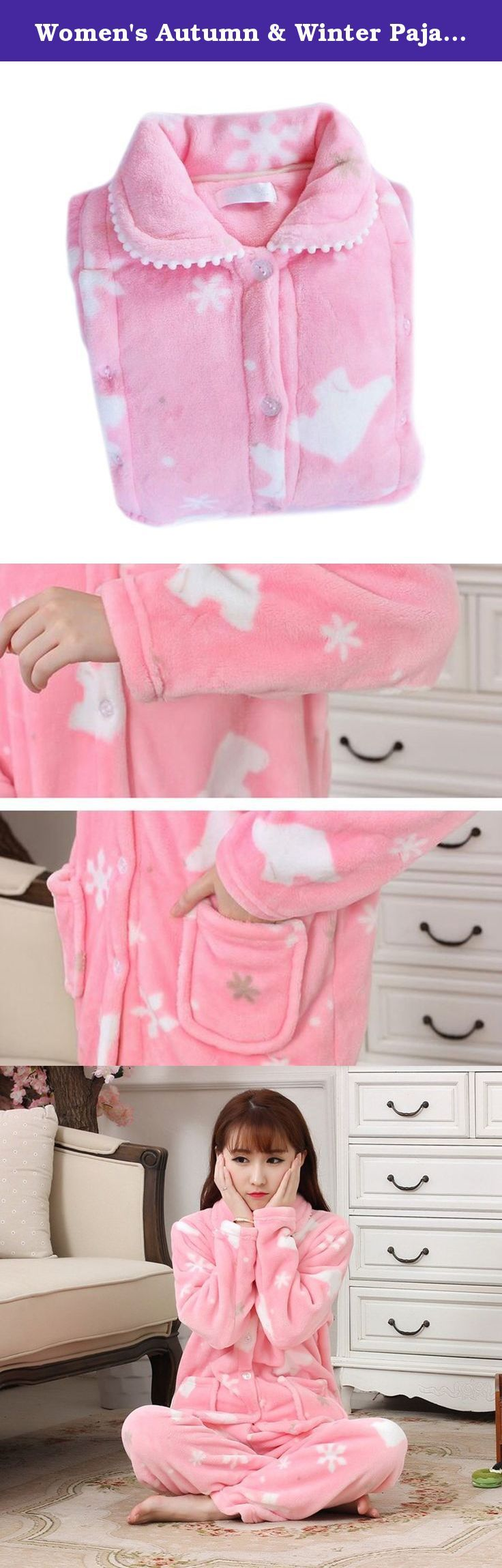 Women's Autumn & Winter Pajamas Thick Flannel Pregnancy Lactation Leisure Wear pink L. Features: Natural fine fibers Soft and smooth Thick and warm Fast colors Waist size can be adjusted Parameters: Material: polyester fiber Weight: 350g Color: pink, green Size: M, L, XL Size Chest circumference (cm) Clothes length (cm) Pants length (cm) Waist Circumference (cm) Hip Circumference (cm) Shoulder width(cm) M 104 65 99 80-100 105 42 L 107 68 101 85-112 110 45 XL 110 70 103 88-114 115 48…