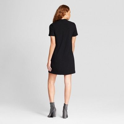 Women's V-Neck Choker Shift Dress - Alison Andrews Black XL
