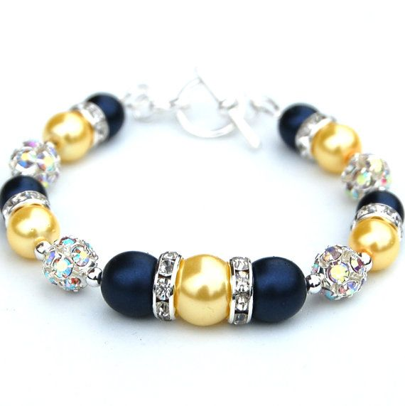 Navy and Yellow Pearl Bling Bracelet Bridesmaid by AMIdesigns, $24.00