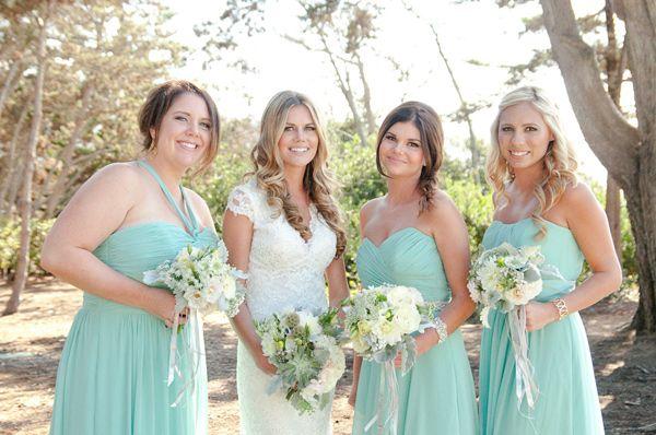 La Jolla Beach Wedding- Gorgeous bridesmaids in Dessy Meadow dresses