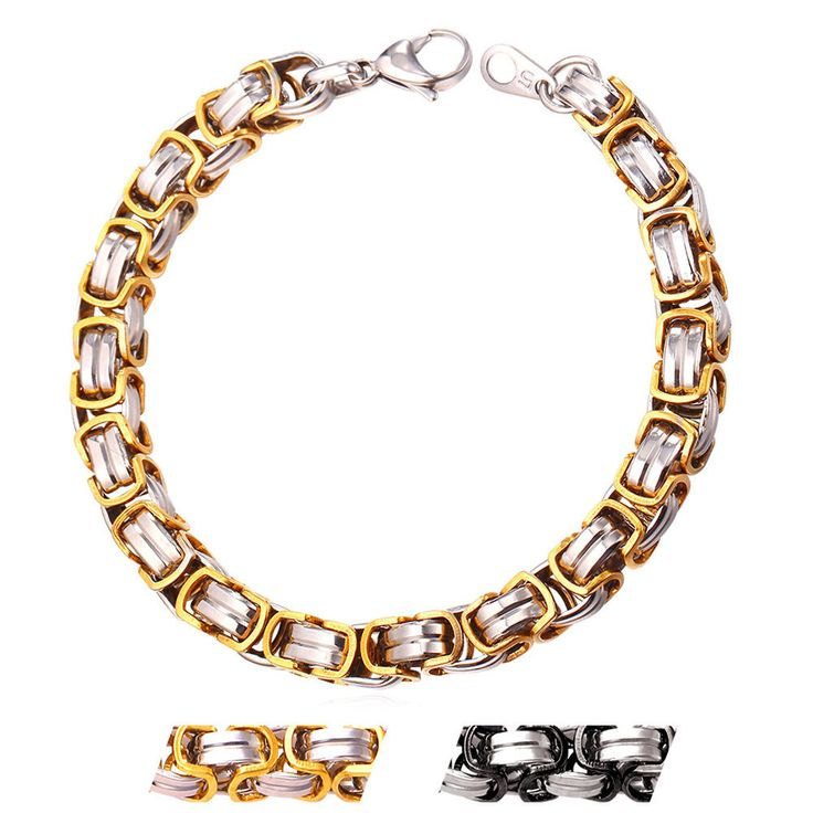 Cool Stainless Steel Gold Plated 9 Mm Chunky Byzantine Chain Bracelet For Men